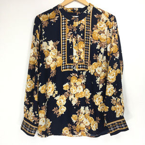 Charter Club Large Blouse Half Button Blue Gold